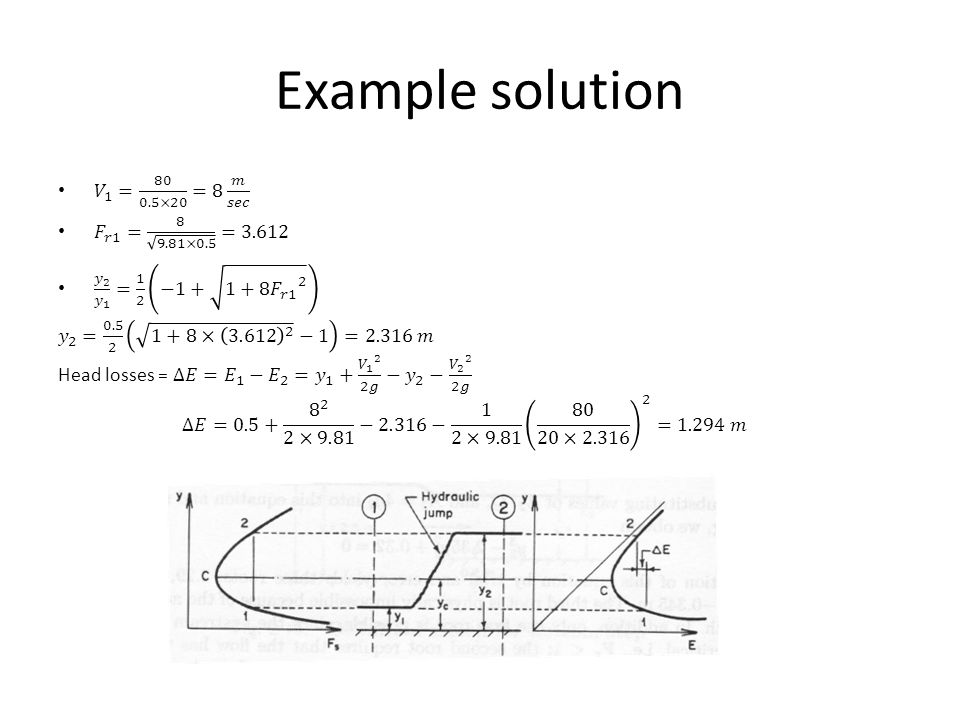 Example solution 𝑉 1 = 80 0.5×20 =8 𝑚 𝑠𝑒𝑐 𝐹 𝑟1 = 8 9.81×0.5 =3.612