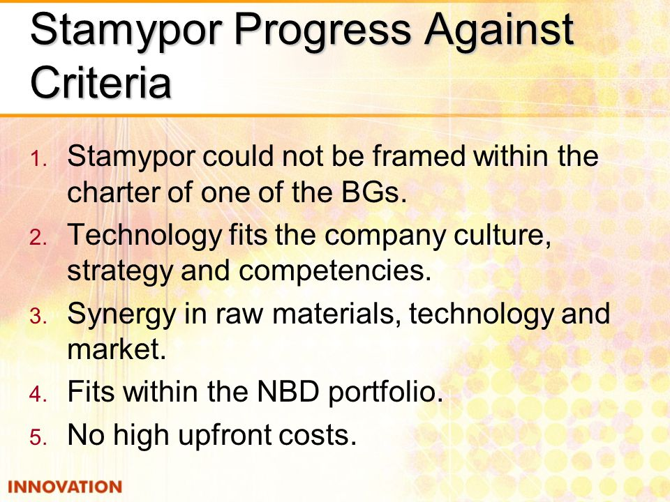 Stamypor Progress Against Criteria