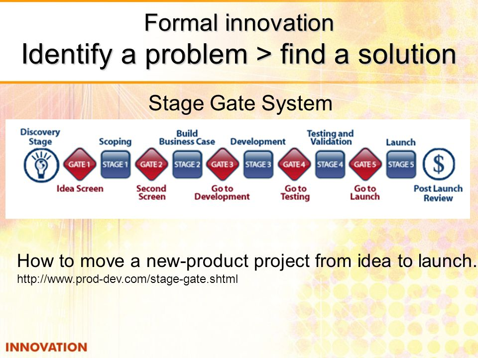 Formal innovation Identify a problem > find a solution
