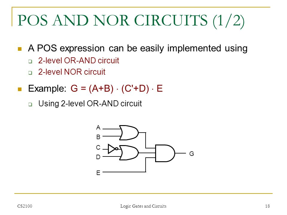 POS AND NOR CIRCUITS (1/2)