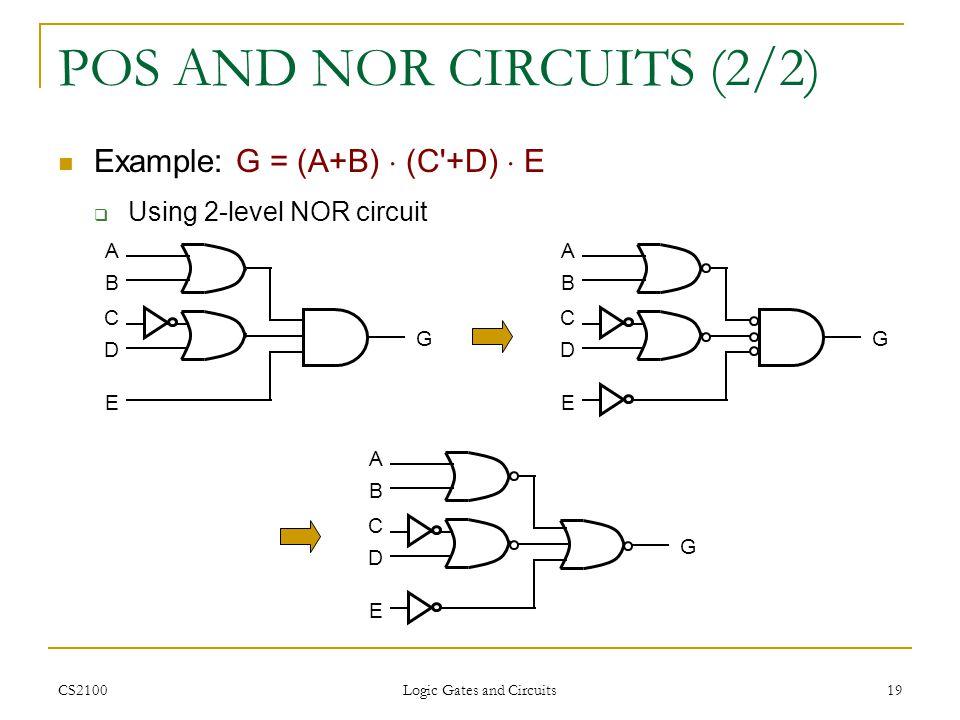 POS AND NOR CIRCUITS (2/2)