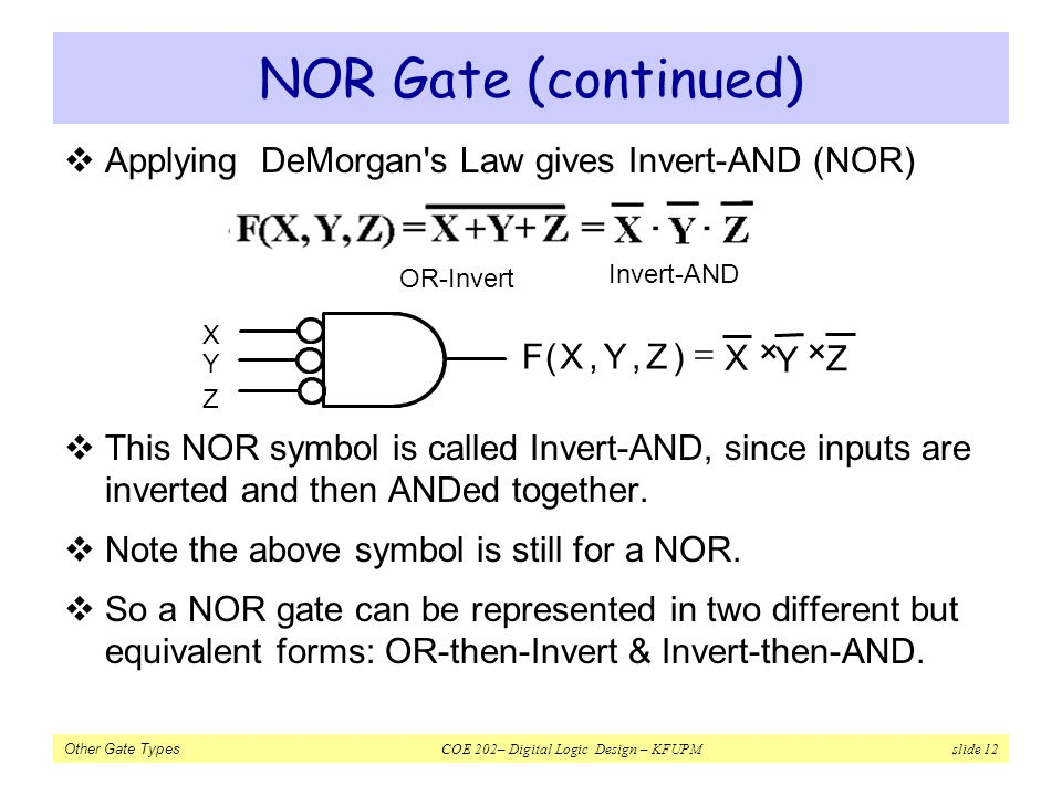 NOR Gate (continued) Applying DeMorgan s Law gives Invert-AND (NOR)