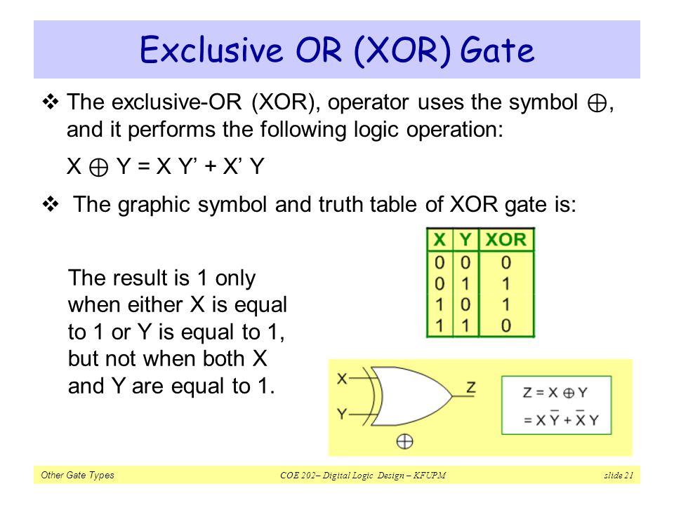 Exclusive OR (XOR) Gate