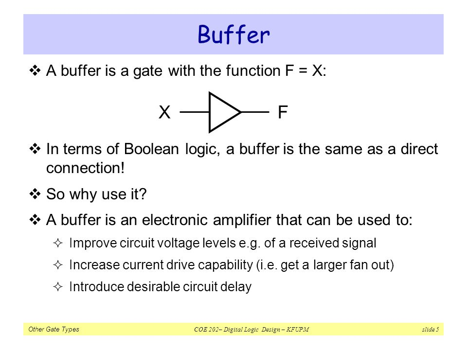 Buffer X F A buffer is a gate with the function F = X: