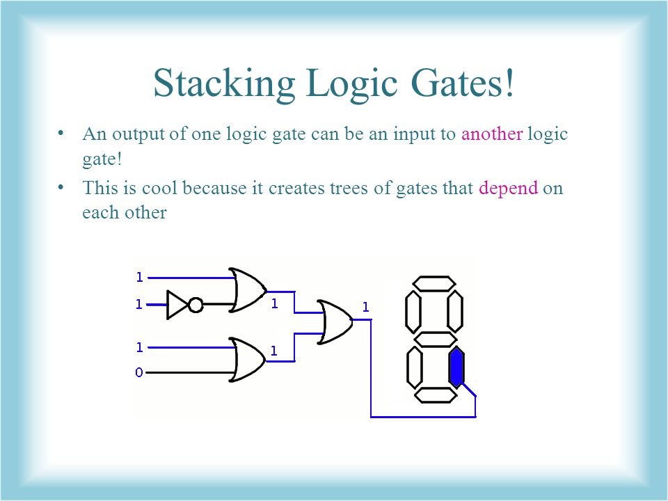 Stacking Logic Gates! An output of one logic gate can be an input to another logic gate!