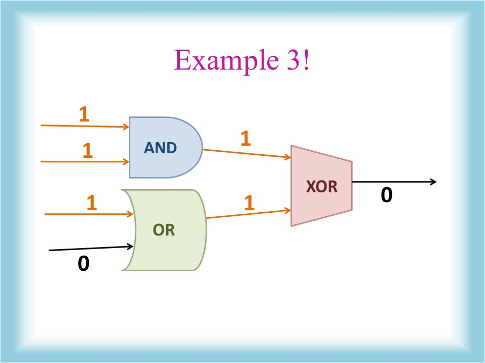 Example 3! 1 AND 1 1 XOR 1 1 OR
