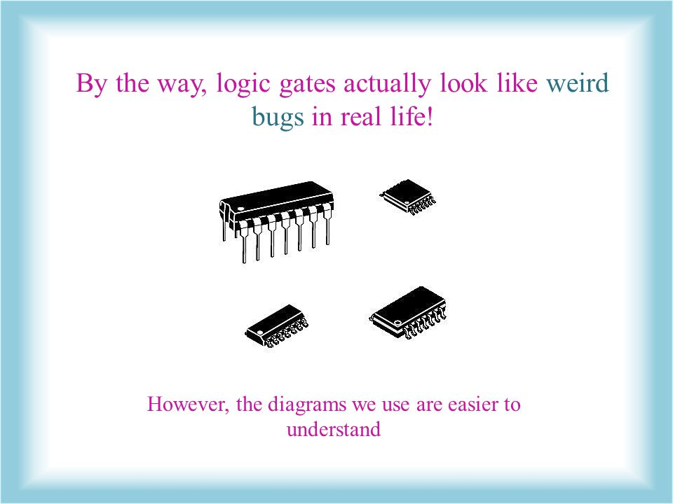 By the way, logic gates actually look like weird bugs in real life!