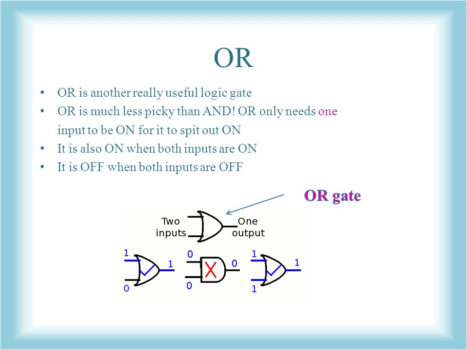 OR OR gate OR is another really useful logic gate