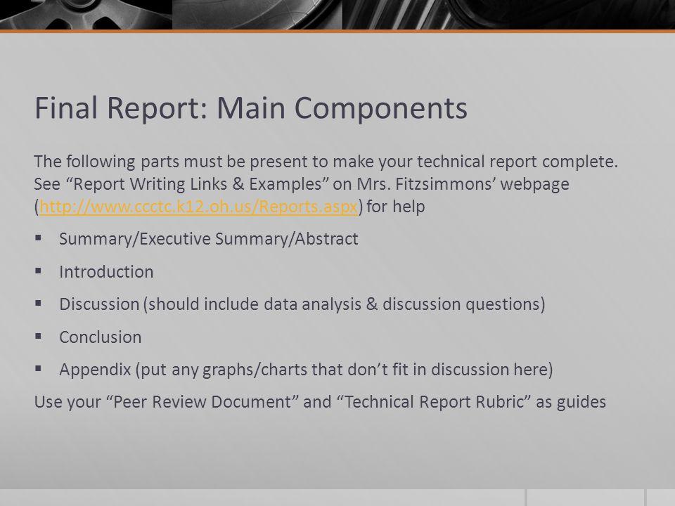 Final Report: Main Components