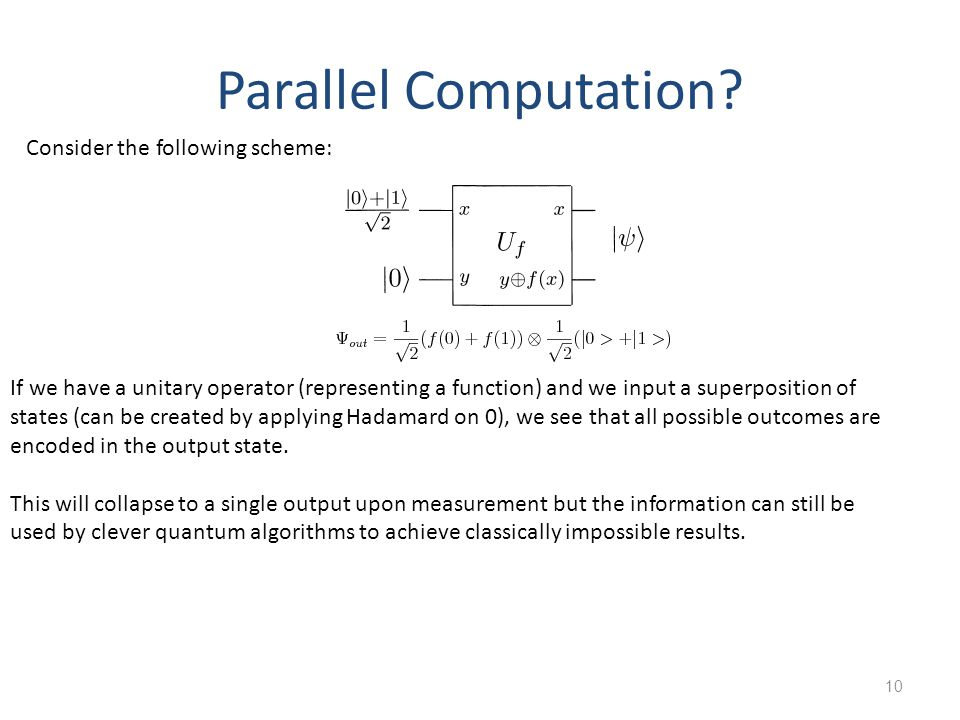 Parallel Computation Consider the following scheme: