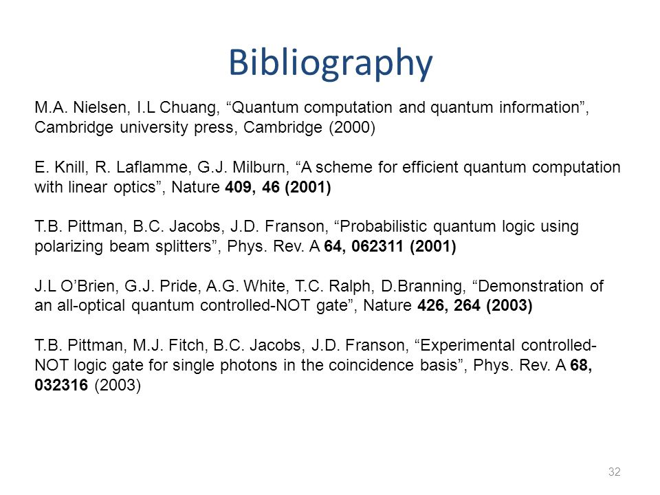 Bibliography M.A. Nielsen, I.L Chuang, Quantum computation and quantum information , Cambridge university press, Cambridge (2000)