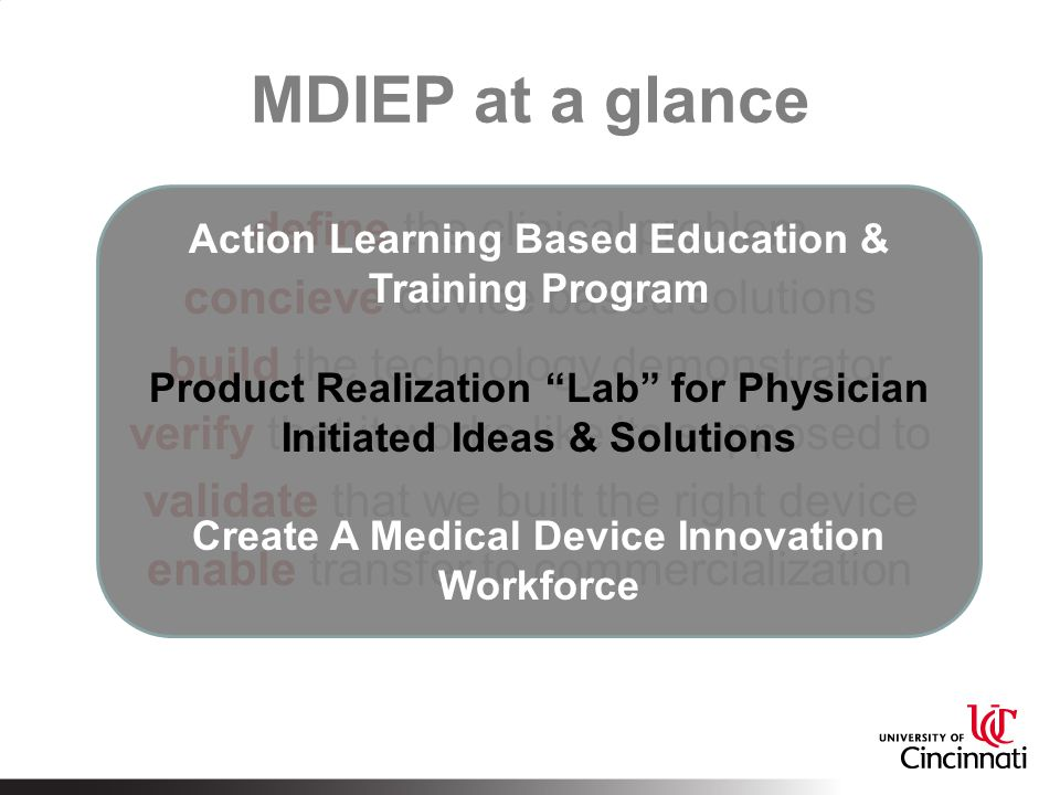 MDIEP at a glance Action Learning Based Education & Training Program. Product Realization Lab for Physician Initiated Ideas & Solutions.