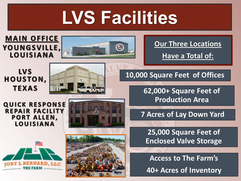LVS Facilities Our Three Locations Have a Total of: