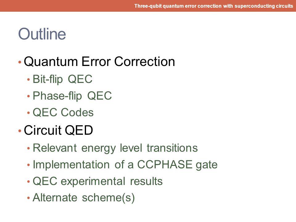 Outline Quantum Error Correction Circuit QED Bit-flip QEC