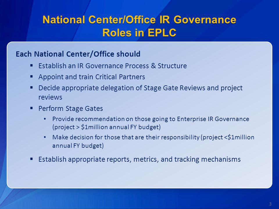 National Center/Office IR Governance Roles in EPLC