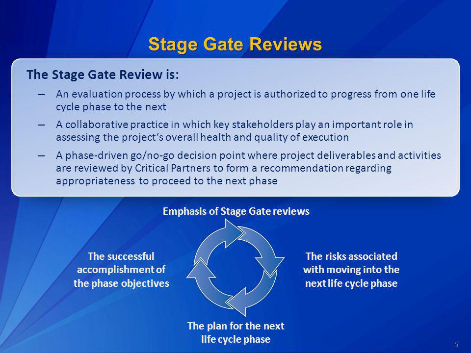 Stage Gate Reviews The Stage Gate Review is:
