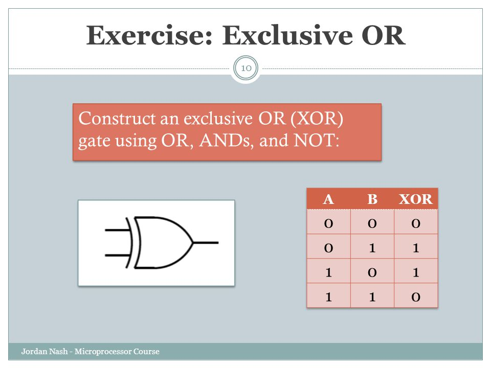 Exercise: Exclusive OR