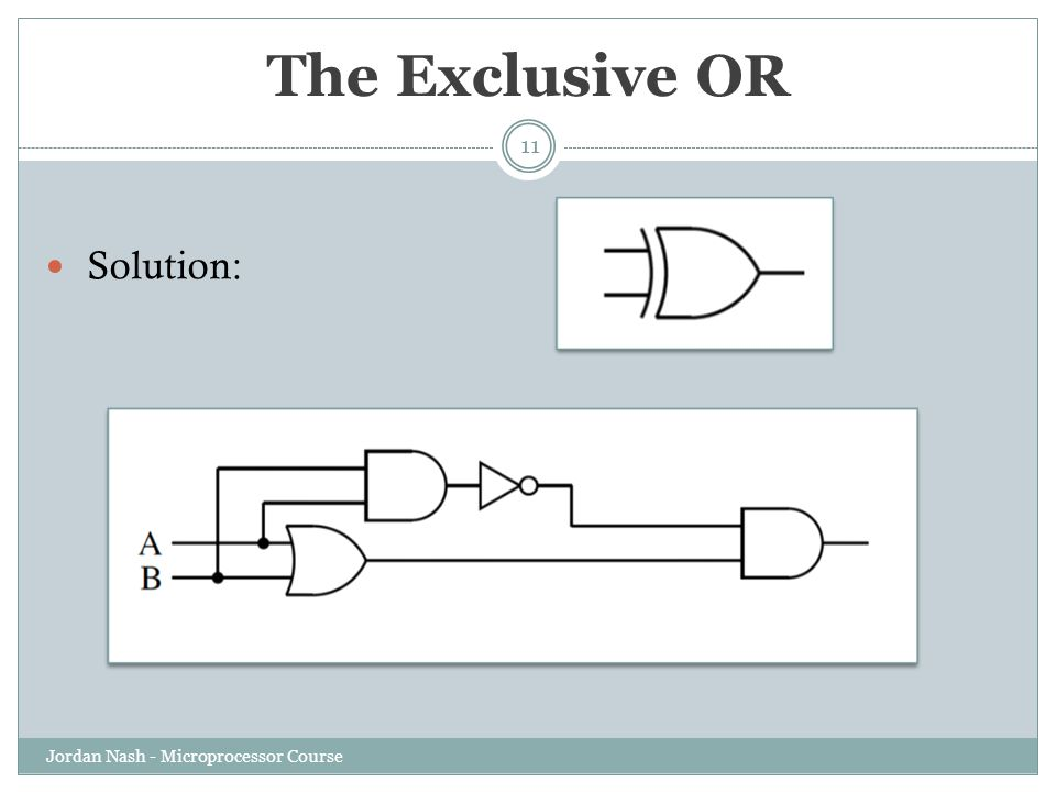 The Exclusive OR Solution: Jordan Nash - Microprocessor Course