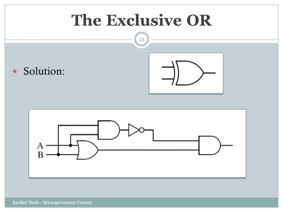 The Exclusive OR Solution: Jordan Nash - Microprocessor Course