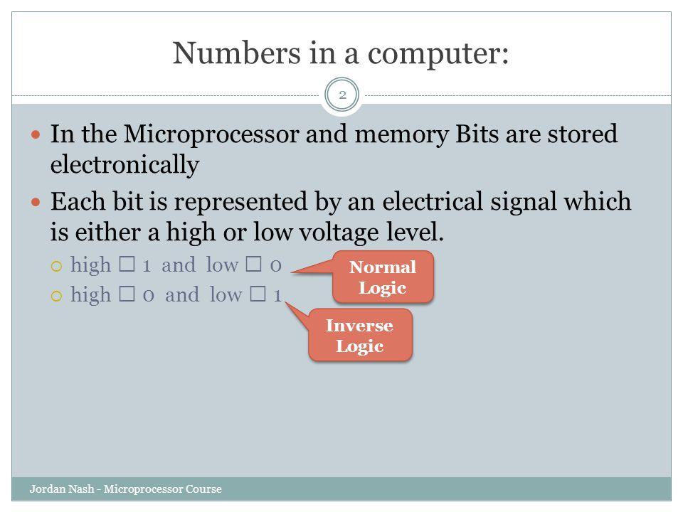 Numbers in a computer: In the Microprocessor and memory Bits are stored electronically.