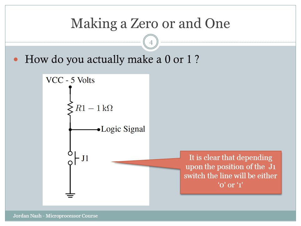 Making a Zero or and One How do you actually make a 0 or 1