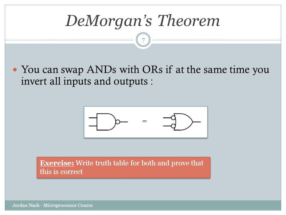 DeMorgan's Theorem You can swap ANDs with ORs if at the same time you invert all inputs and outputs :