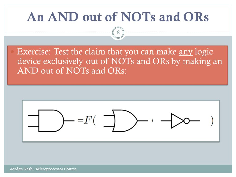 An AND out of NOTs and ORs