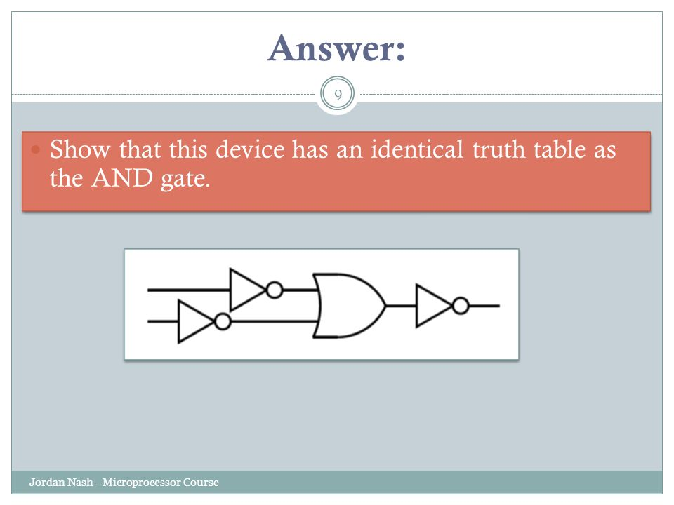 Answer: Show that this device has an identical truth table as the AND gate.
