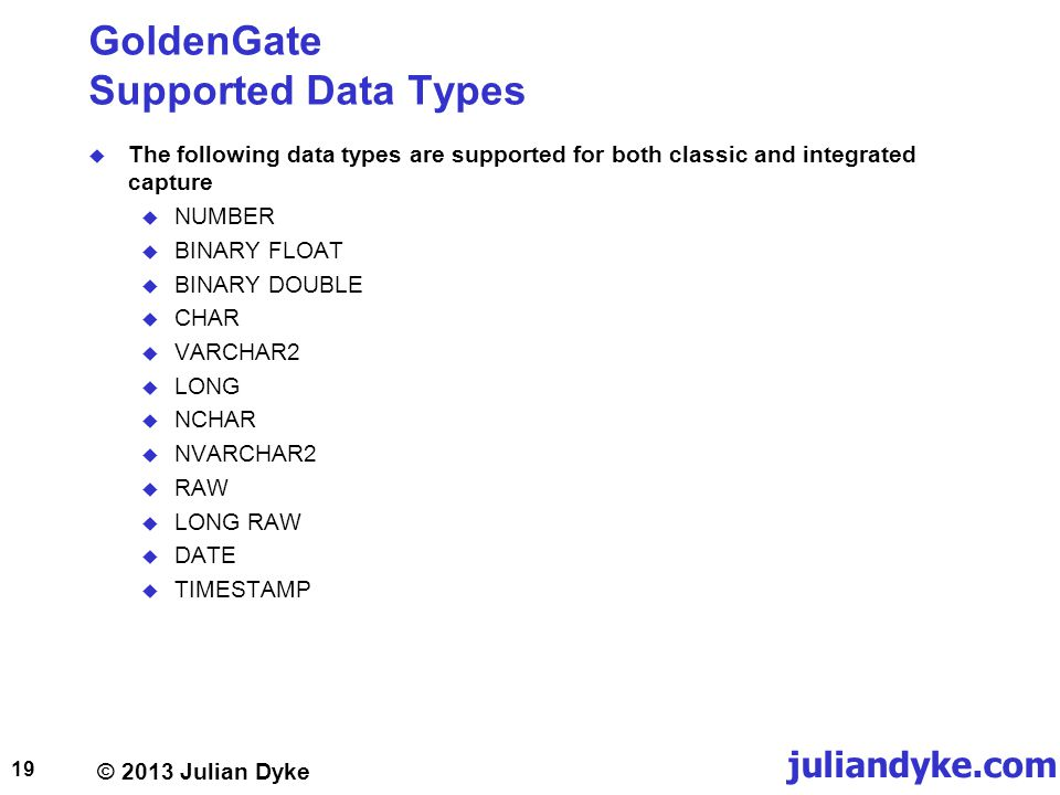 GoldenGate Supported Data Types