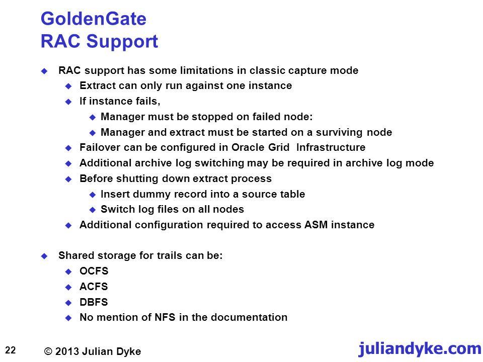GoldenGate RAC Support