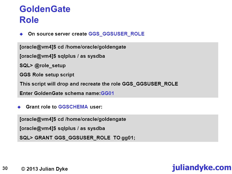 GoldenGate Role On source server create GGS_GGSUSER_ROLE