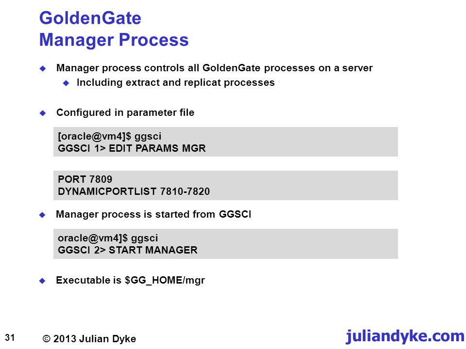 GoldenGate Manager Process