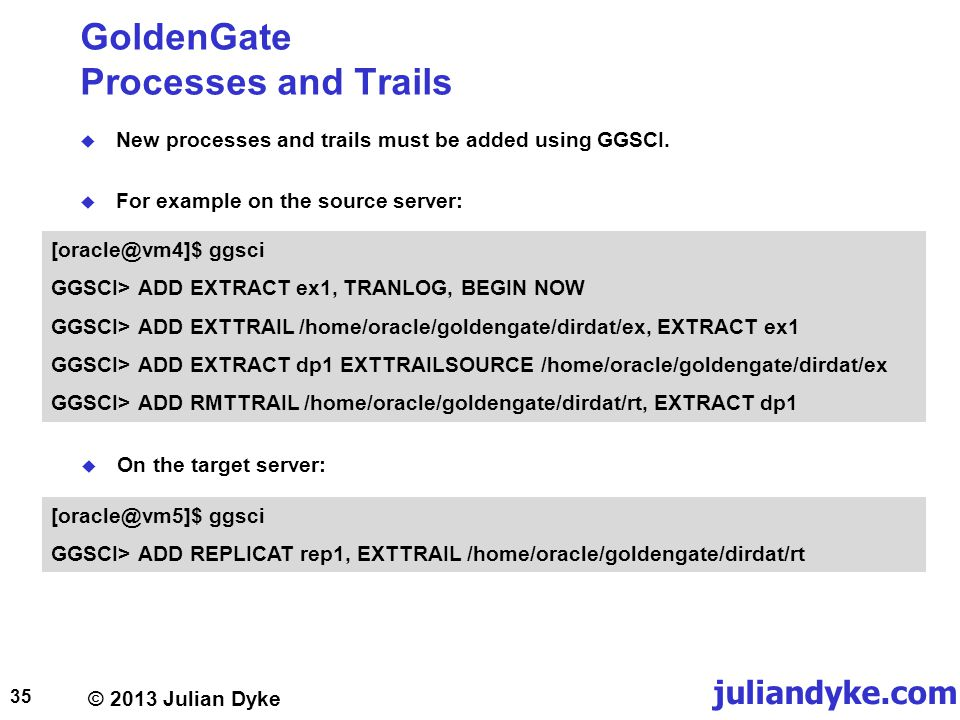 GoldenGate Processes and Trails