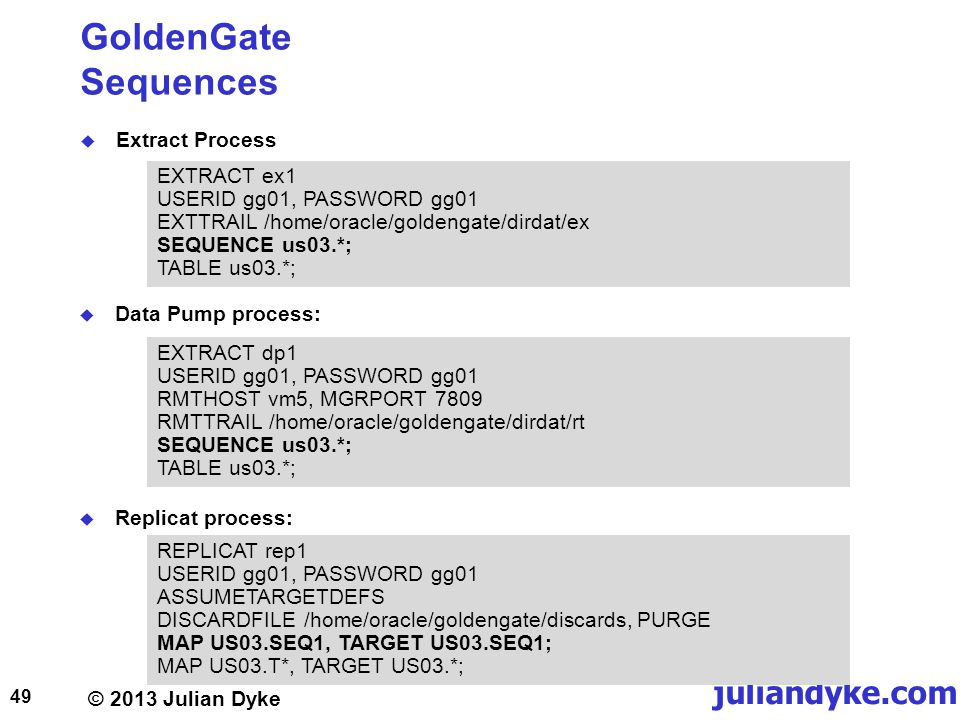 GoldenGate Sequences Extract Process