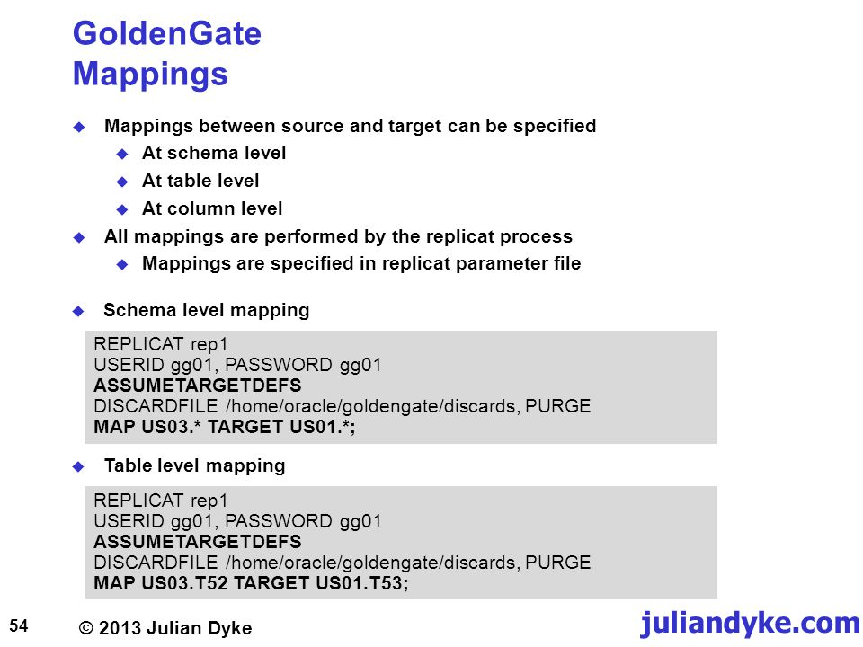 GoldenGate Mappings Mappings between source and target can be specified. At schema level. At table level.