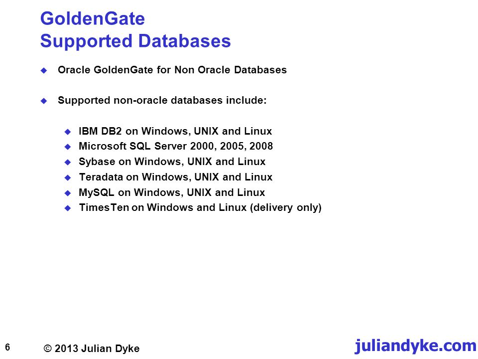 GoldenGate Supported Databases