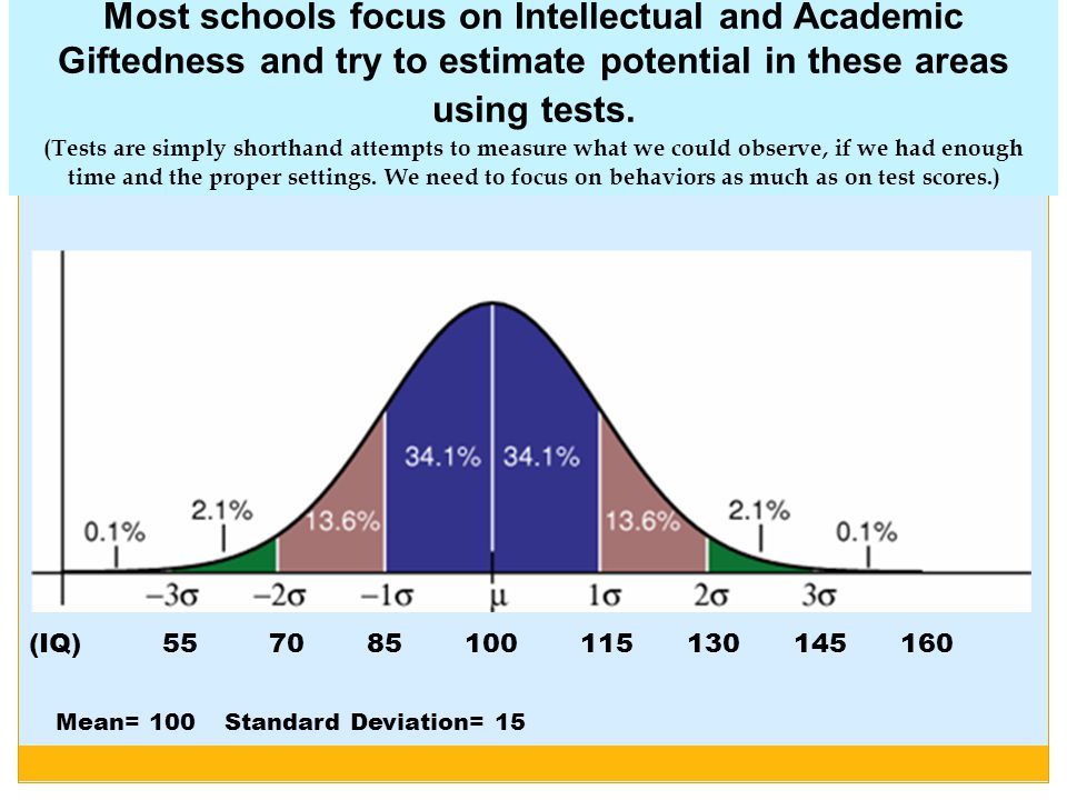 Most schools focus on Intellectual and Academic Giftedness and try to estimate potential in these areas using tests. (Tests are simply shorthand attempts to measure what we could observe, if we had enough time and the proper settings. We need to focus on behaviors as much as on test scores.)