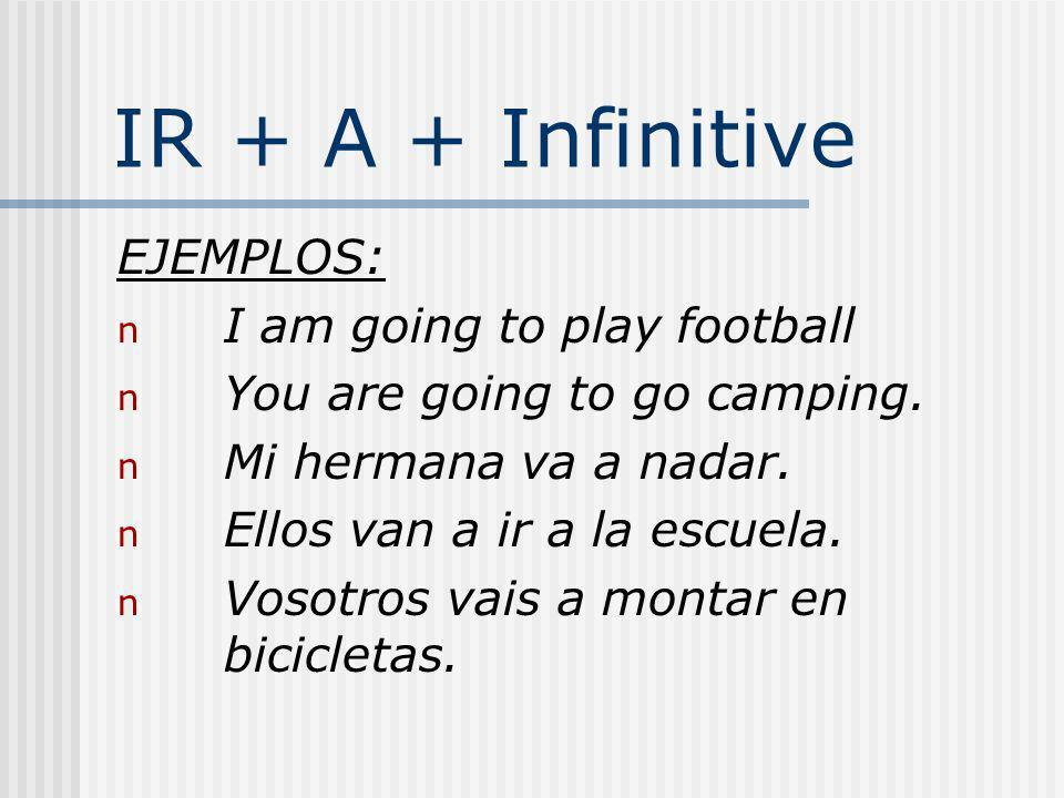 IR + A + Infinitive EJEMPLOS: I am going to play football