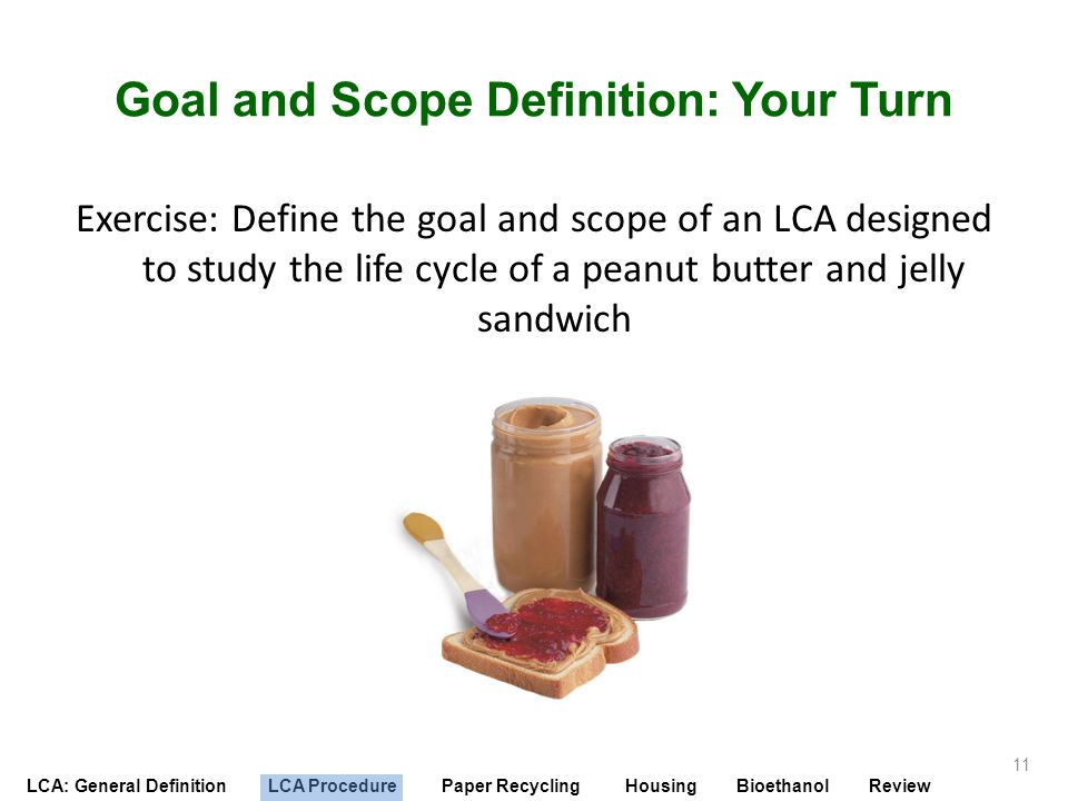 Goal and Scope Definition: Your Turn