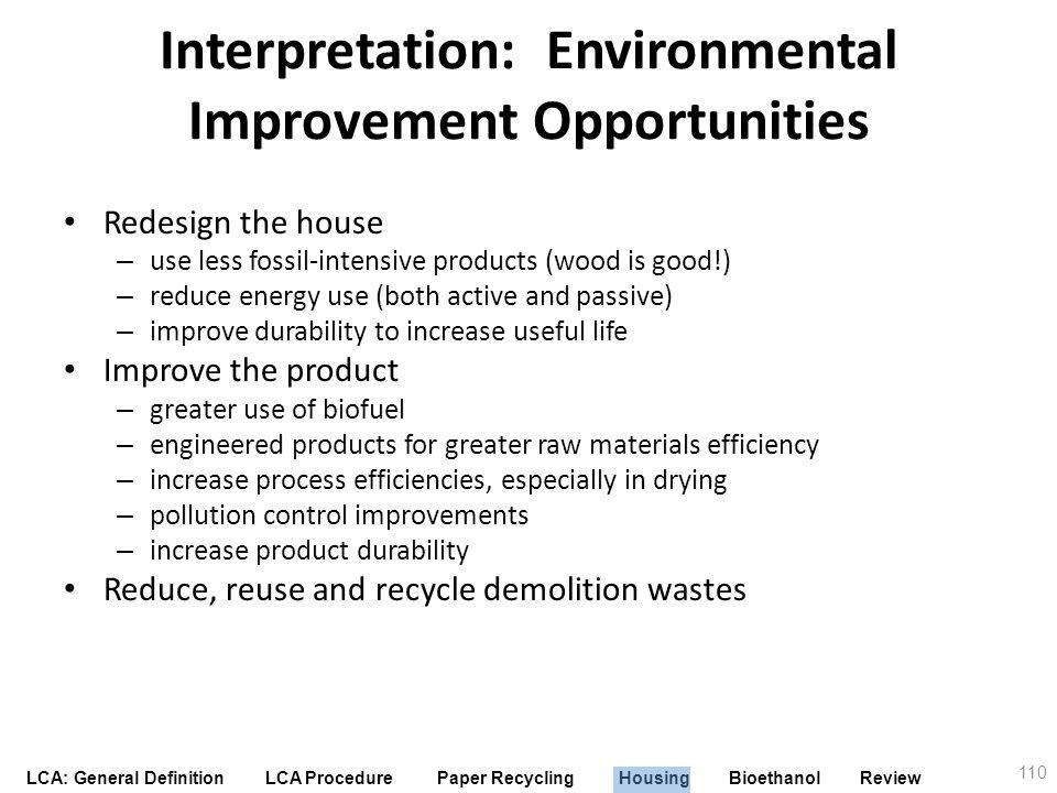 Interpretation: Environmental Improvement Opportunities