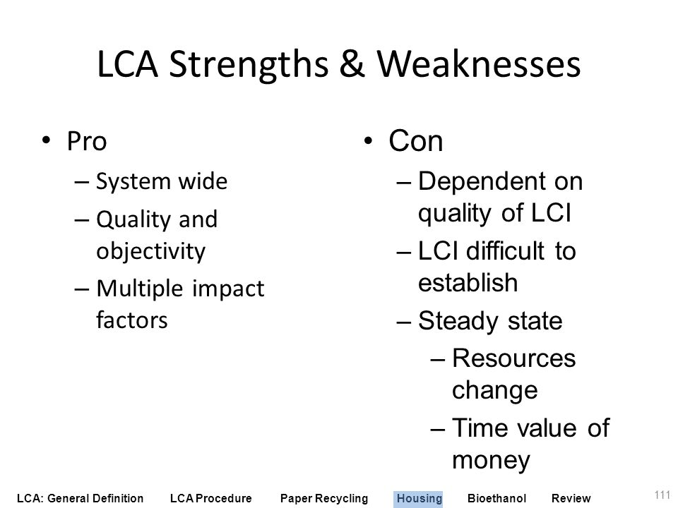 LCA Strengths & Weaknesses