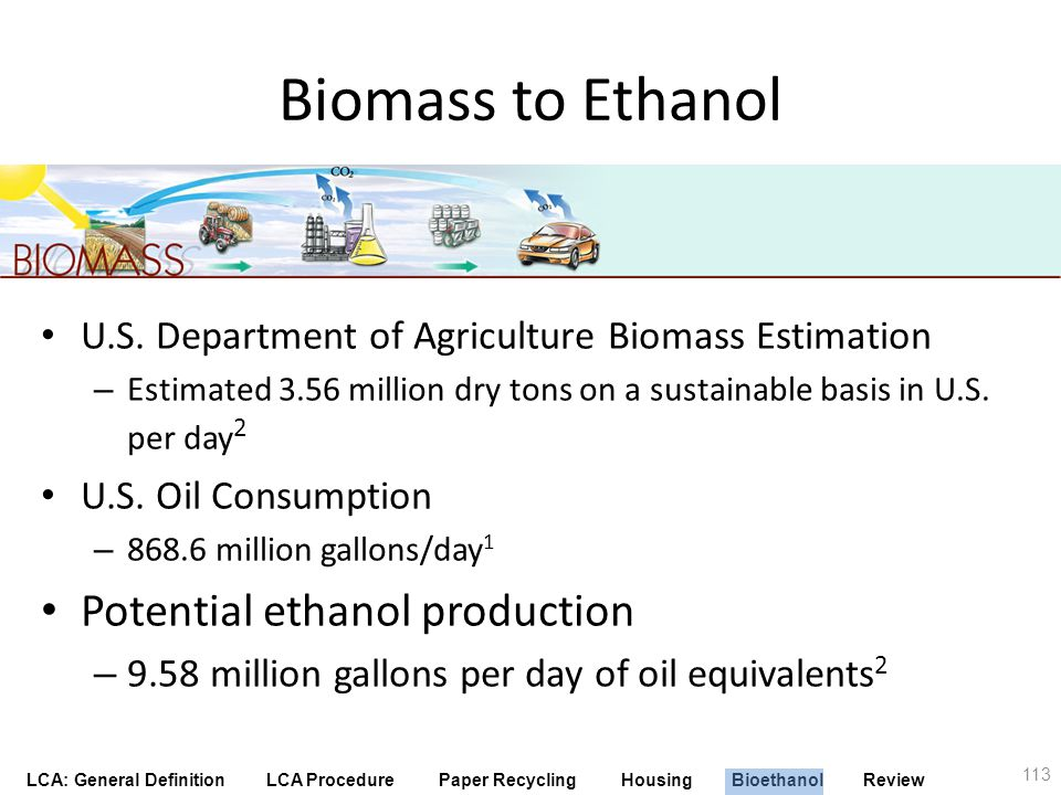 Biomass to Ethanol Potential ethanol production