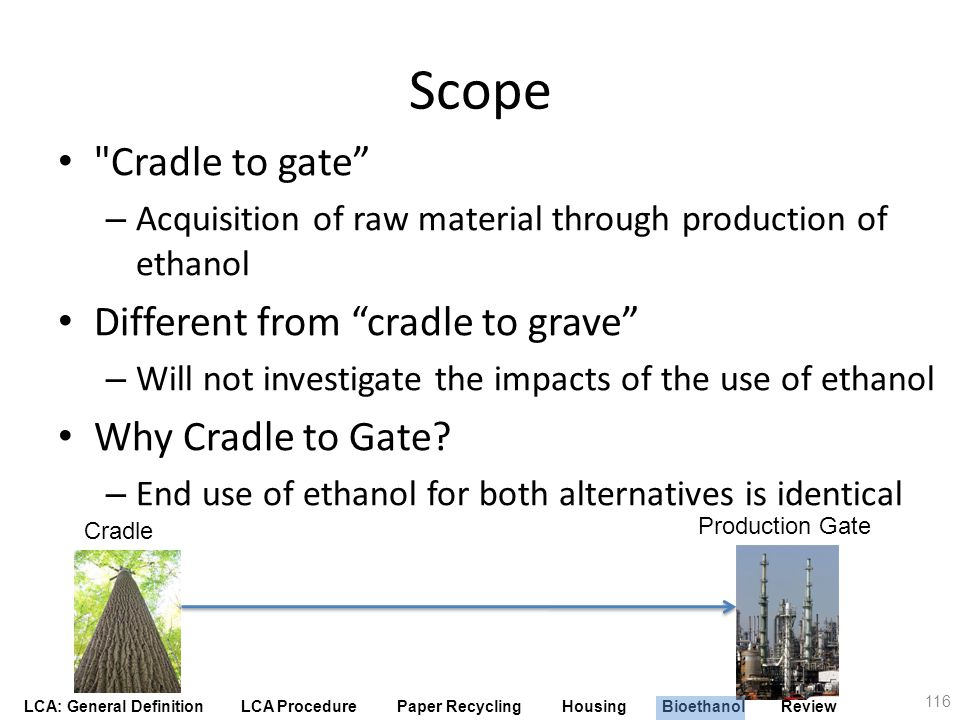 Scope Cradle to gate Different from cradle to grave