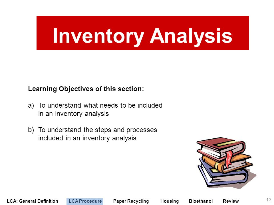 Inventory Analysis Learning Objectives of this section: