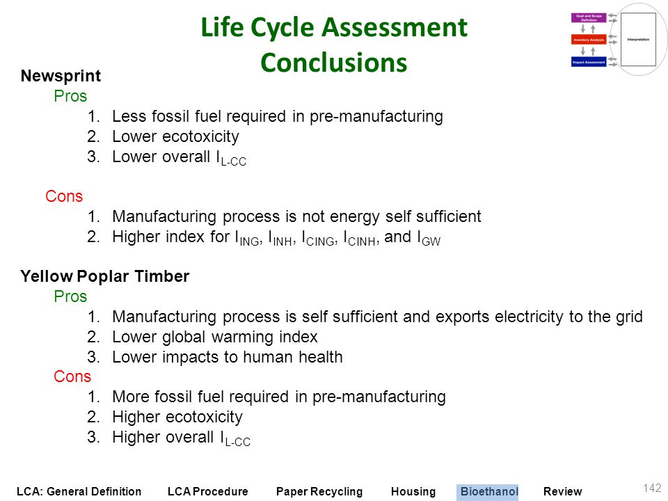 Life Cycle Assessment Conclusions