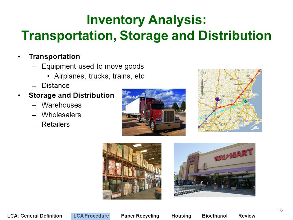 Inventory Analysis: Transportation, Storage and Distribution