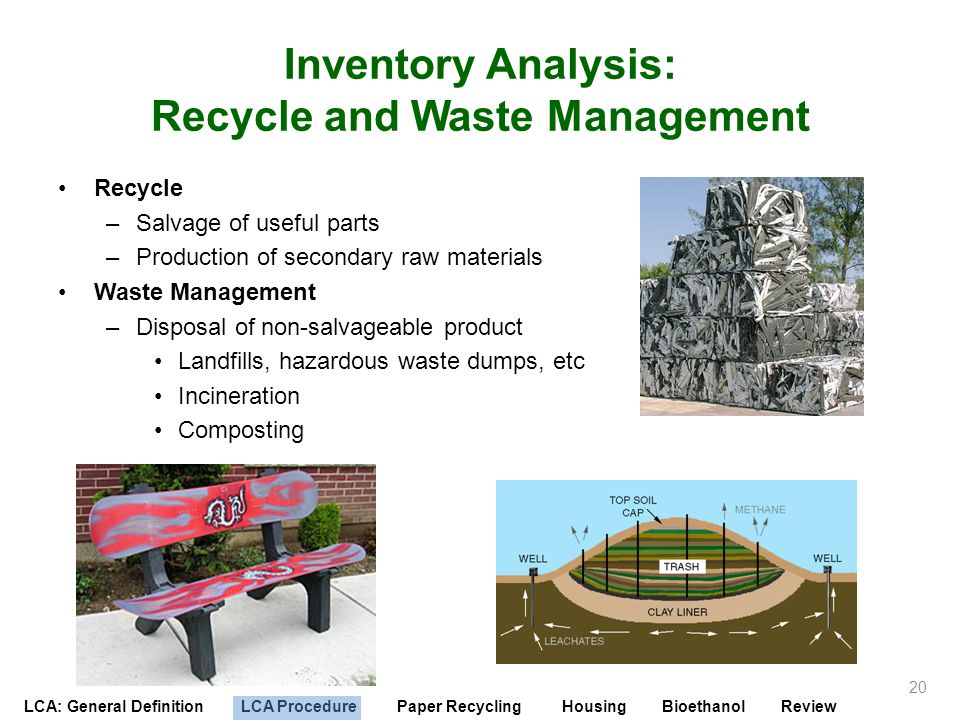 Inventory Analysis: Recycle and Waste Management