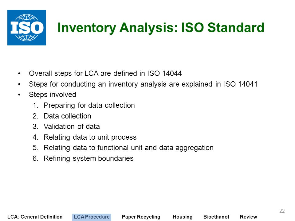 Inventory Analysis: ISO Standard