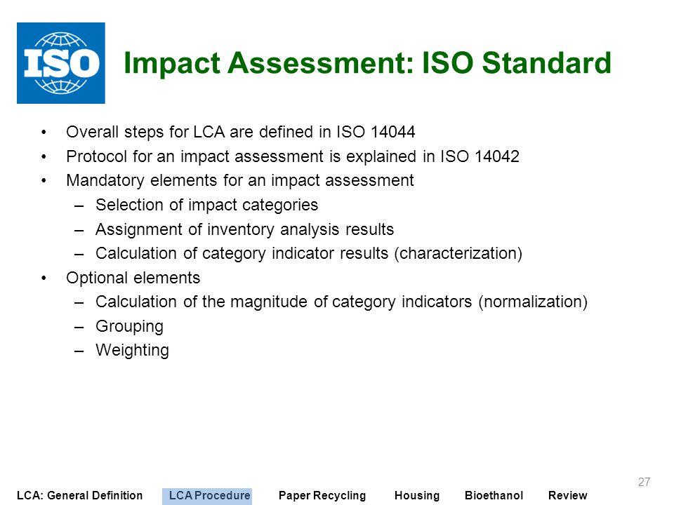 Impact Assessment: ISO Standard