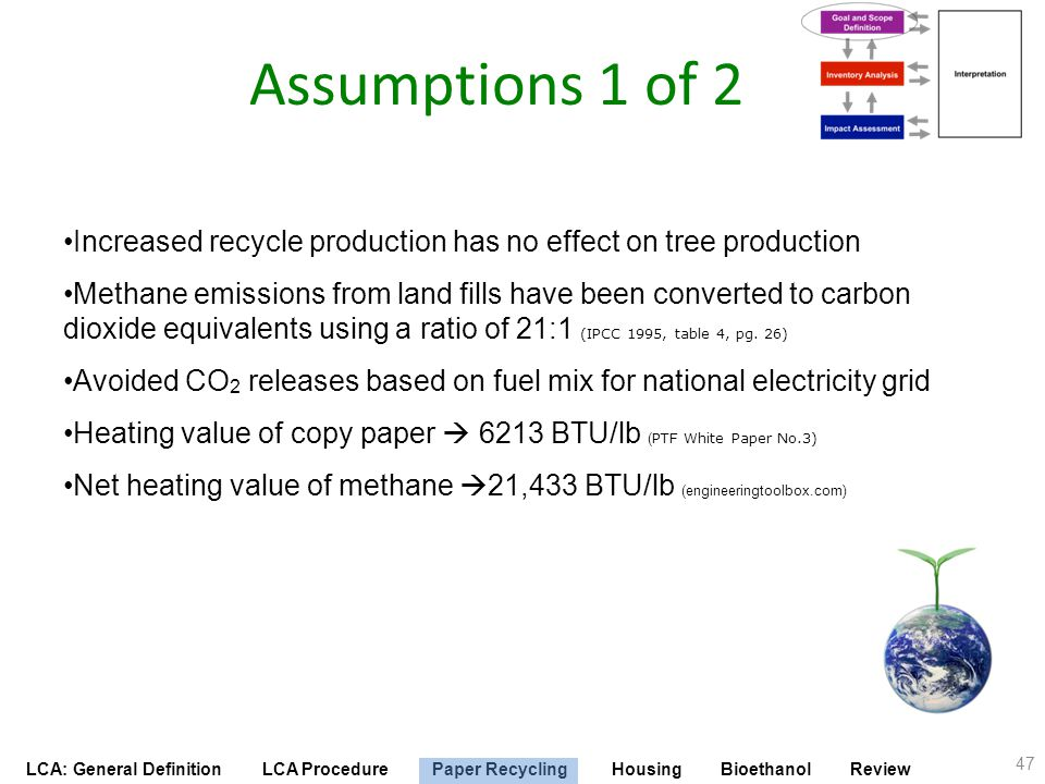 Assumptions 1 of 2 Increased recycle production has no effect on tree production.